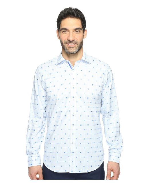 Bugatchi | Blue Long Sleeve Classic Fit Point Collar Shirt for Men | Lyst
