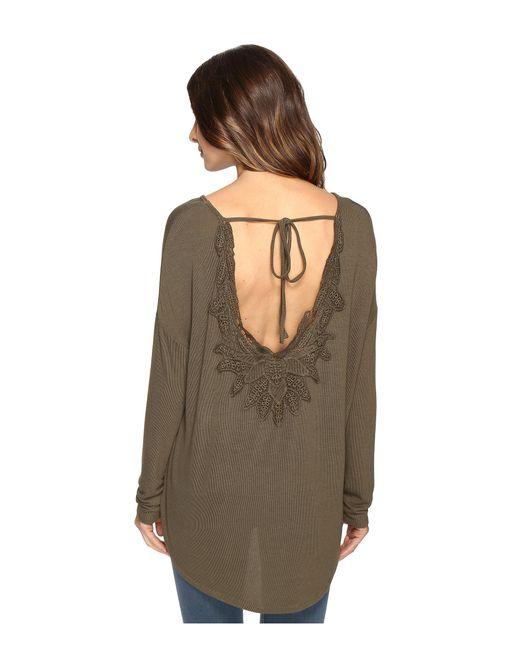 Brigitte Bailey | Green Diara Long Sleeve Top With Open Back | Lyst