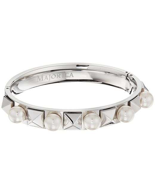Majorica   White Why Not? Silver Pyramid Bangle   Lyst