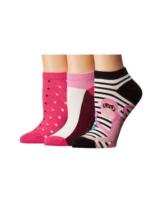 Kate Spade | Pink Stripe Monkey 3-pack No Show | Lyst