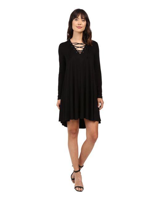 Karen Kane | Black Lace-up Maggie Trapeze Dress | Lyst