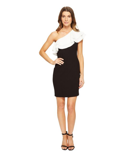 Aidan Mattox | Black One Shoulder Stretch Crepe Cocktail Dress With Contrast Ruffle Detail | Lyst