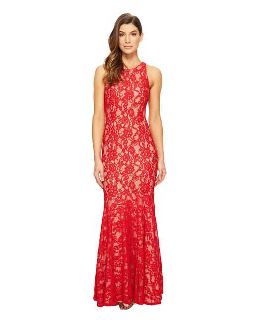 Aidan Mattox | Red Long Stretch Lace Gown With Godet Hem | Lyst