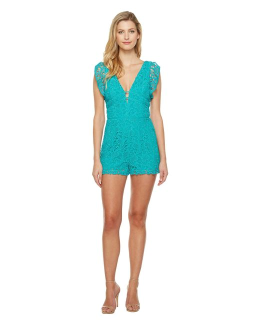 Adelyn Rae | Blue Maddie Woven Lace Romper | Lyst