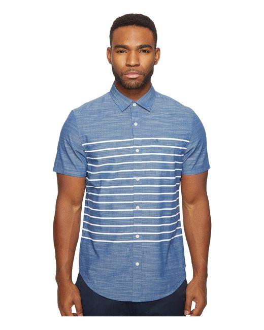 Original Penguin   Blue Short Sleeve Printed End On End Woven Shirt for Men   Lyst