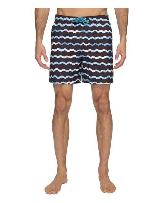 Original Penguin | Blue Watercolor Wave Print Swim Shorts for Men | Lyst