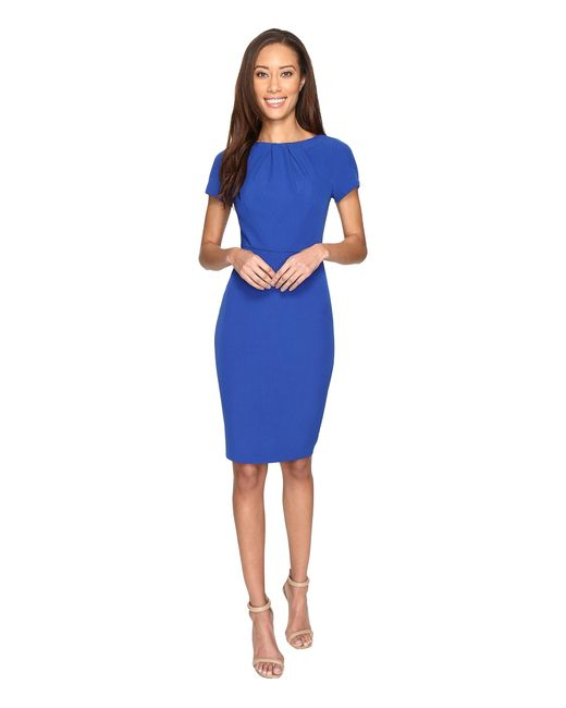 Adrianna Papell | Blue Stretch Crepe Sheath Dress With Seamed And Tucked Bodice | Lyst
