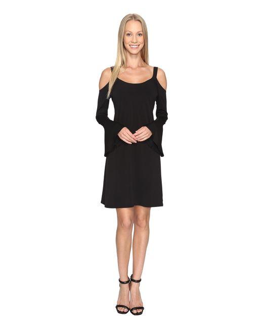 Karen Kane | Black Cold Shoulder Flare Sleeve Dress | Lyst
