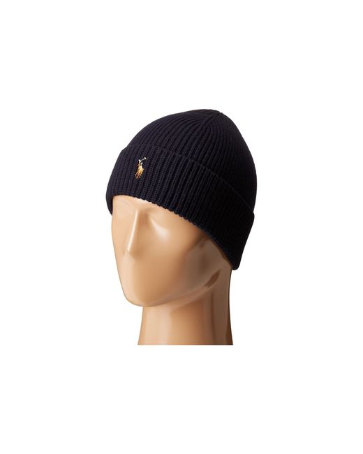 Polo Ralph Lauren   Blue Signature Merino Cuff Hat for Men   Lyst