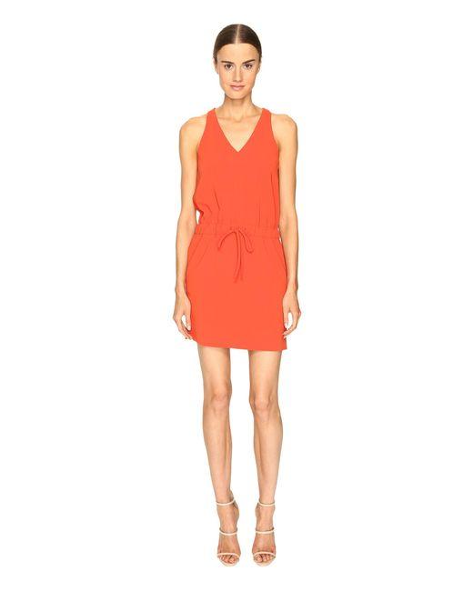 Boutique Moschino | Orange Drawstring V-neck Dress | Lyst
