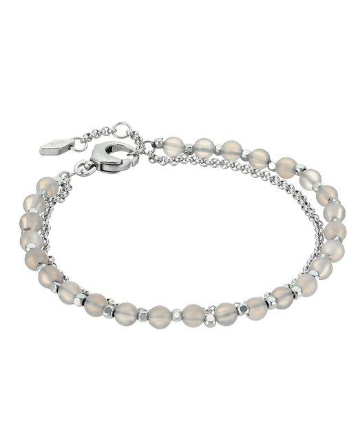 Fossil   Metallic Silver Semi-precious Double-chain Bracelet   Lyst