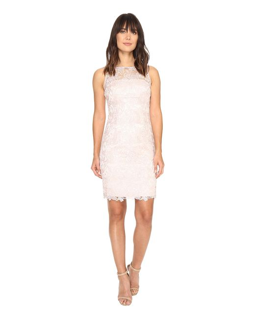 Adrianna Papell | Pink Sleeveless Sequin Guipure Lace Sheath Dress | Lyst
