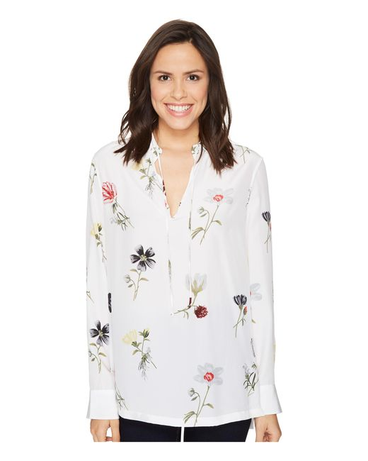 Equipment | White Bristol Floral-print Silk Blouse - Size M | Lyst