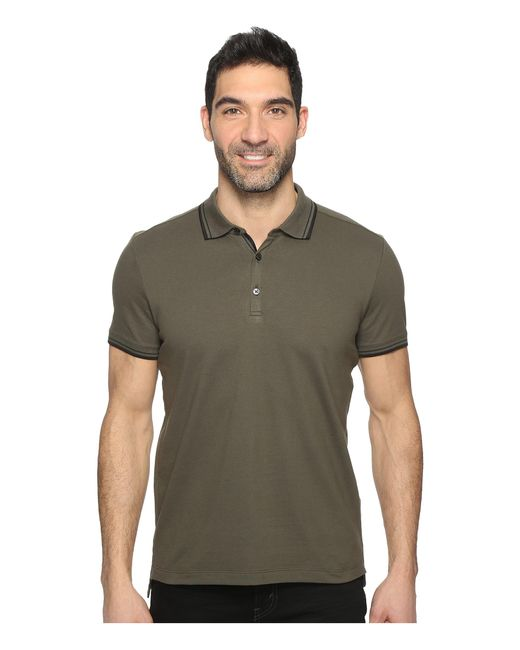 Kenneth Cole | Green Polo With Tipping for Men | Lyst