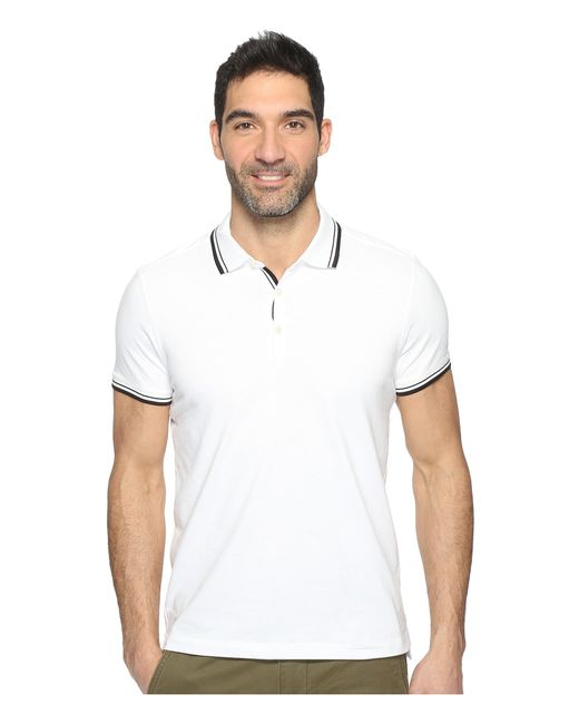 Kenneth Cole | White Polo With Tipping for Men | Lyst