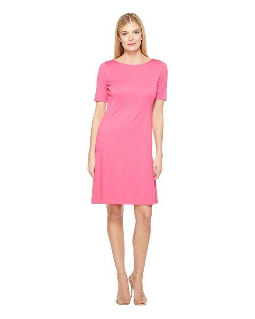 Ellen Tracy | Pink Elbow Sleeve Flounce Dress | Lyst