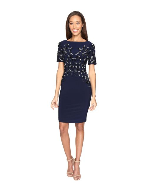 Adrianna Papell | Blue Jersey Beaded Cocktail Dress | Lyst