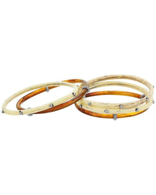 Lauren by Ralph Lauren   Metallic Silver And Bone Five Set Multi Bangle Bracelet   Lyst