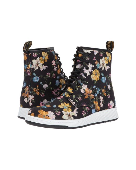 Dr. Martens | Black Darcy Floral Newton 8-eye Boot | Lyst