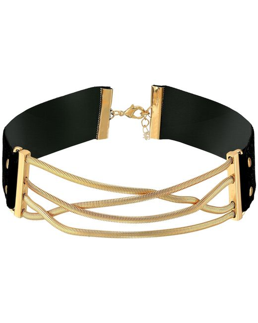 Steve Madden | Metallic Straps Crisscross Snake Chain Choker Necklace | Lyst