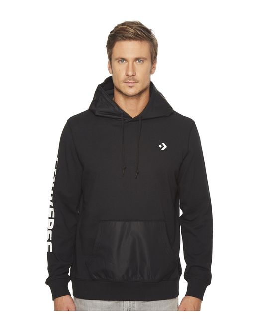 Converse | Black Mixed Media Pullover Hoodie for Men | Lyst
