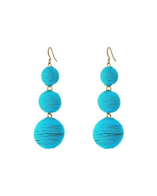 Kenneth Jay Lane | Blue Triple Graduated Turquoise Thread Wrapped Balls Fishhook Top Ear Earrings | Lyst