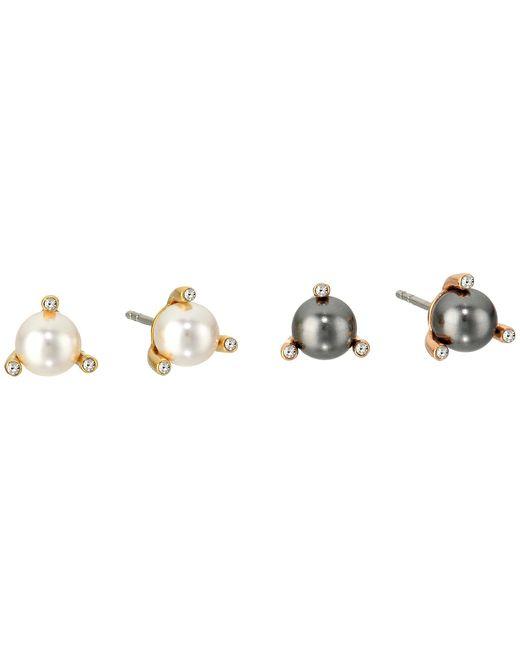 Michael Kors | Metallic Modern Classic Pearl Stud Earrings Set | Lyst
