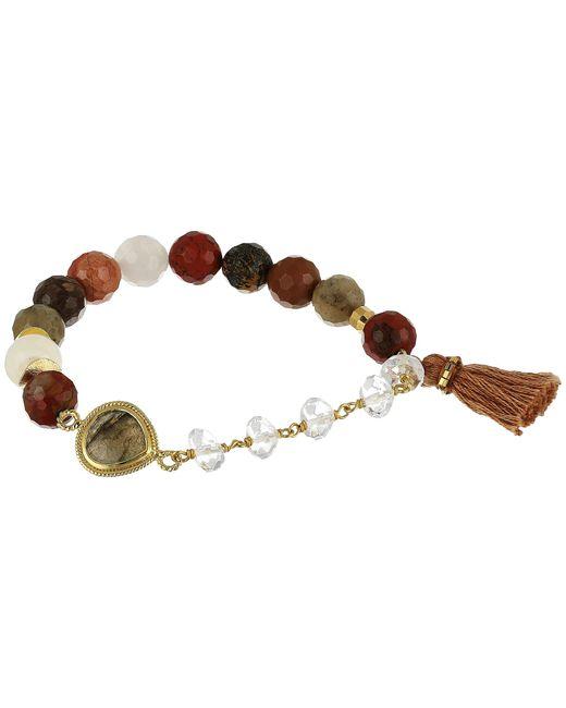 Chan Luu | Multicolor Stretch Bracelet W/ Tassel & Semi Precious Stone | Lyst