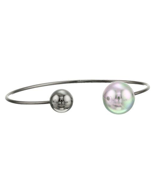 Majorica   Gray 14mm Round Black Steel Choker Bangle Bracelet   Lyst