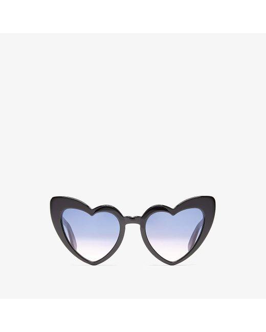Saint Laurent New Wave Sl 181 Loulou Sunglasses In Black Acetate And Black Lenses