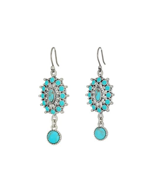 Lucky Brand | Metallic Turquoise Squash Blossom Earrings | Lyst