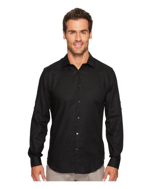 Calvin Klein | Black Twill Roll-up Button Down Shirt for Men | Lyst