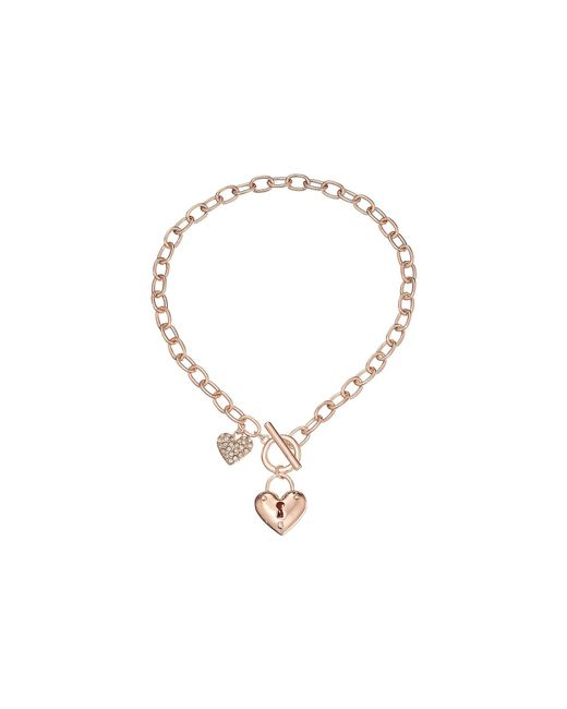 Guess - Pink Puffy Heart Toggle Necklace - Lyst