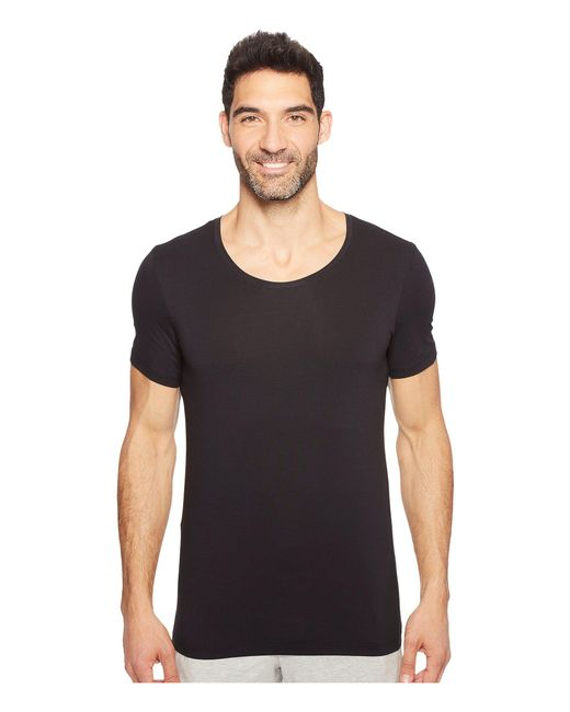 Hanro Black Cotton Superior Short Sleeve Crew Neck Shirt for men