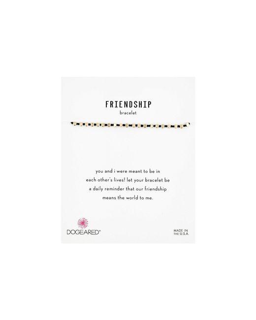 Dogeared Metallic Friendship Bracelet, Flat Bead Black Silk Bracelet