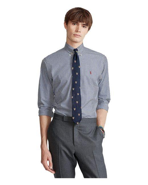 Polo Ralph Lauren Blue Classic Fit Plaid Stretch Poplin Shirt for men