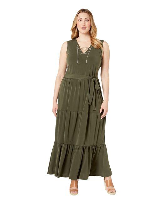 a112def0cec MICHAEL Michael Kors - Green Plus Size Chain Lace-up Maxi Dress (black) ...
