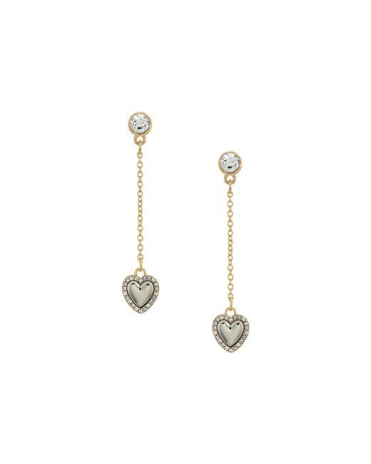 Guess | Metallic Dainty Heart On Chain Linear Earrings | Lyst