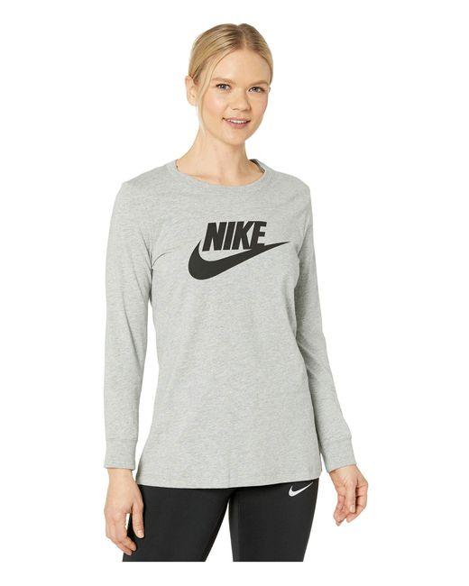 Nike Gray Nsw Tee Essential Long Sleeve Icon Futura