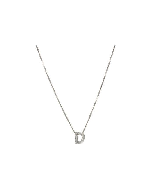 Roberto Coin - Metallic Diamond Initial Necklace (white Gold-d) Necklace - Lyst