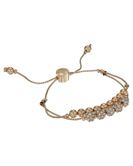 Guess | Metallic Double Row Round Bead And Fireball Slider Bracelet | Lyst