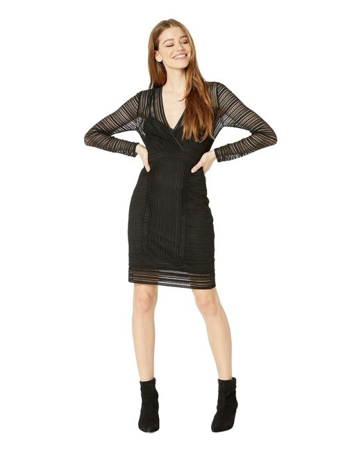 81e3caee1e BCBGMAXAZRIA - V-neck Long Sleeve Knit Cocktail Dress (black) Women's  Clothing ...
