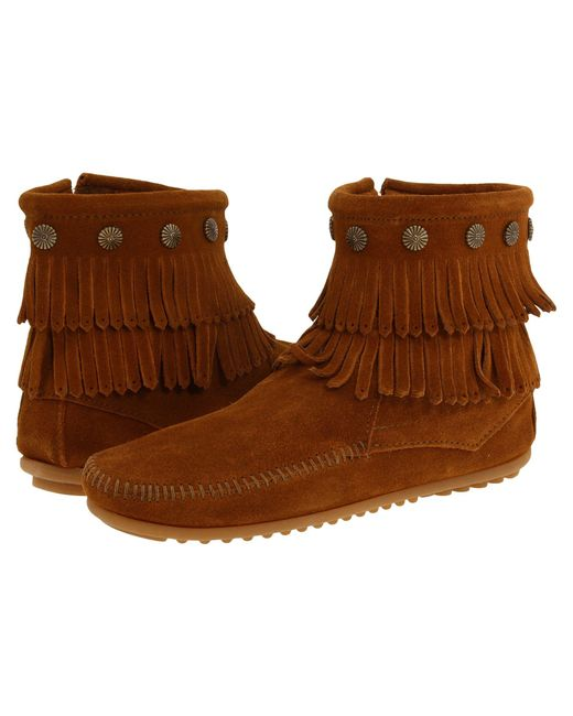 Minnetonka Brown Double Fringe Side Zip Boot