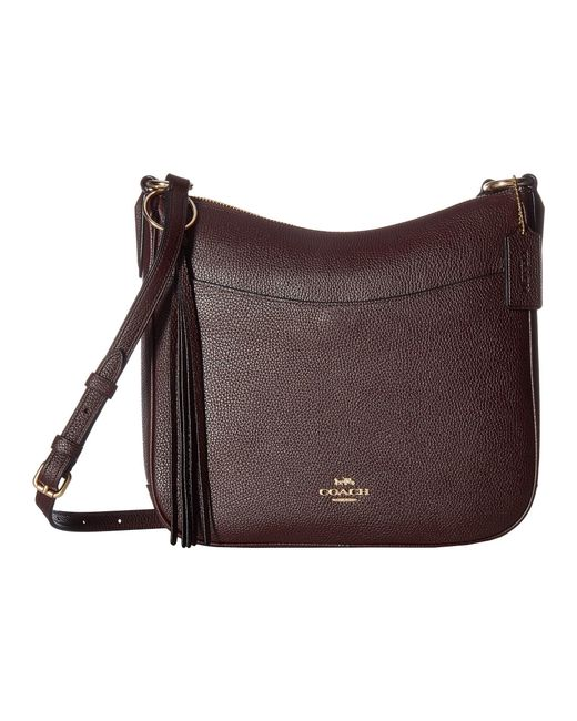 COACH Brown Polished Pebble Leather Chaise Crossbody