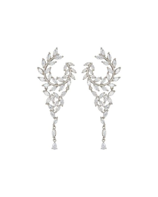 Nina - Multicolor Fern Front/back Chandelier Earrings (rose Gold/white Cz) Earring - Lyst