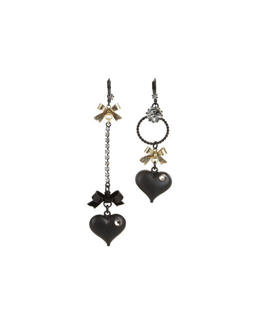 Betsey Johnson - Black Heart/ Bow Drop Earrings - Lyst