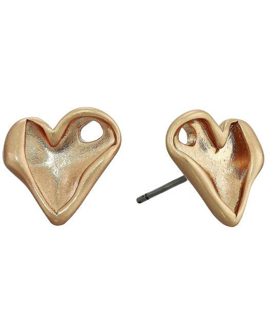 Rebecca Minkoff Metallic Organic Metal Heart Studs Earrings
