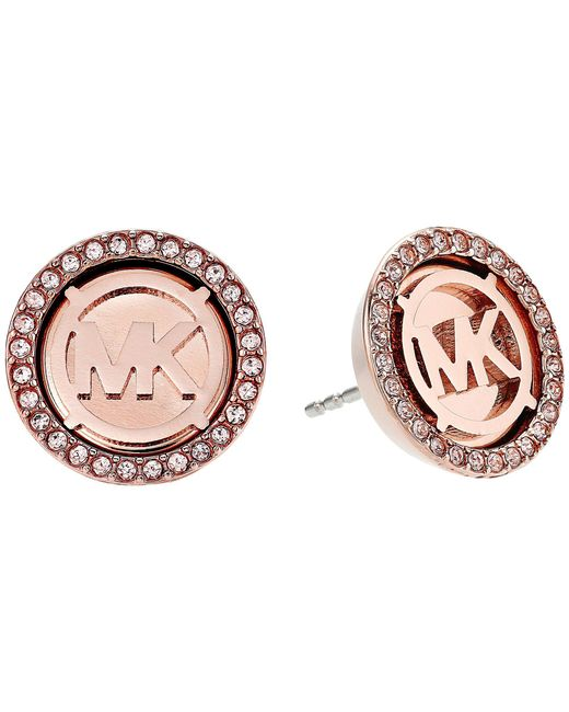 Michael Kors | Multicolor Mk Monogram Logo Pave Stud Earrings | Lyst
