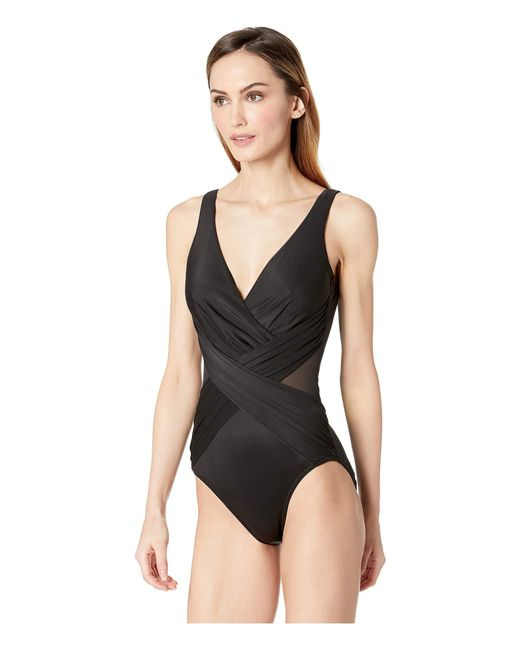 c94e29622d ... Lyst Miraclesuit - Illusionists Crossover One-piece (black) Women s Swimsuits  One Piece ...