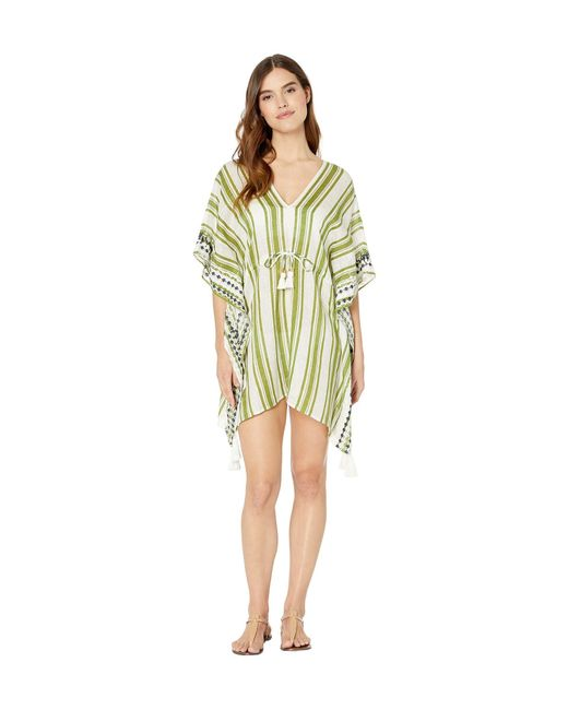 Tory Burch Multicolor Ravena Awning Stripe Beach Caftan Cover-up